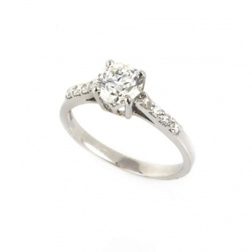 18k White Gold Round Brilliant Cut Diamond Ring 0.94ct H-I/VS1
